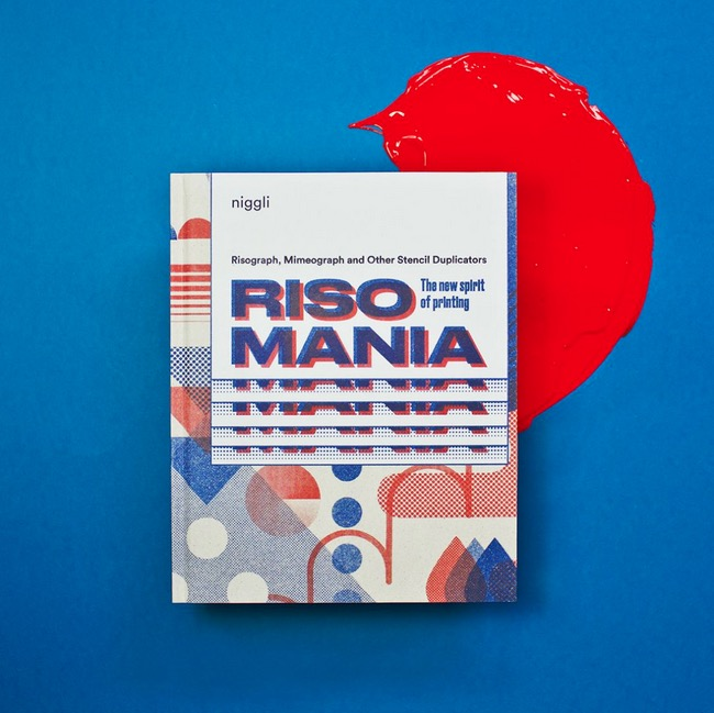 front cover of the book Risomania on a blue background